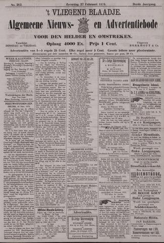 Vliegend blaadje : nieuws- en advertentiebode voor Den Helder 1875-02-27