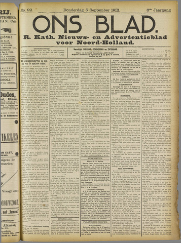 Ons Blad : katholiek nieuwsblad voor N-H 1912-09-05