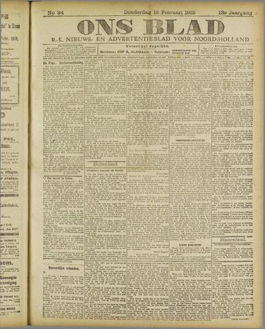 Ons Blad : katholiek nieuwsblad voor N-H 1919-02-13