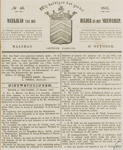 Weekblad van Den Helder en het Nieuwediep 1857-10-19
