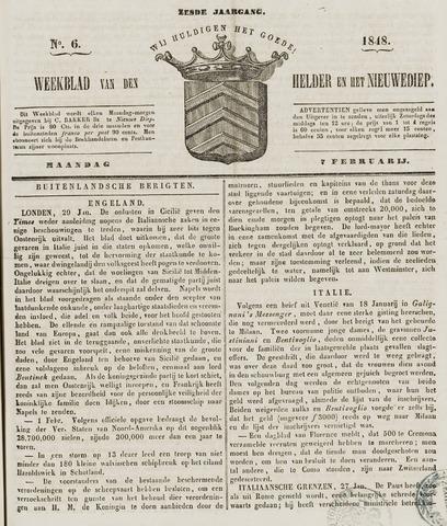 Weekblad van Den Helder en het Nieuwediep 1848-02-07