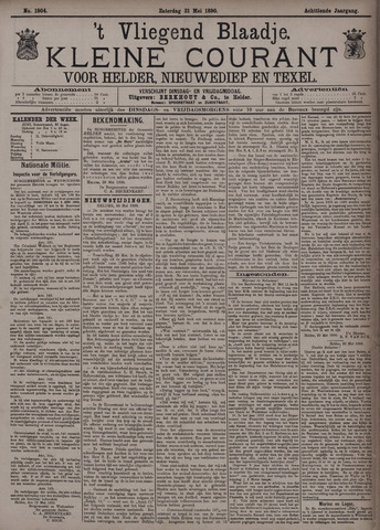 Vliegend blaadje : nieuws- en advertentiebode voor Den Helder 1890-05-31