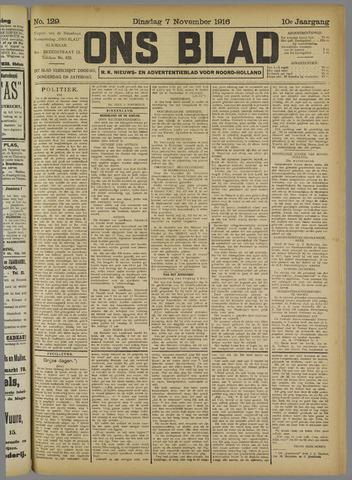 Ons Blad : katholiek nieuwsblad voor N-H 1916-11-07