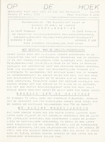 Op De Hoek, weekblad voor Akersloot 1961-04-21