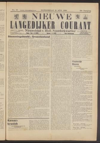 Nieuwe Langedijker Courant 1930-08-21