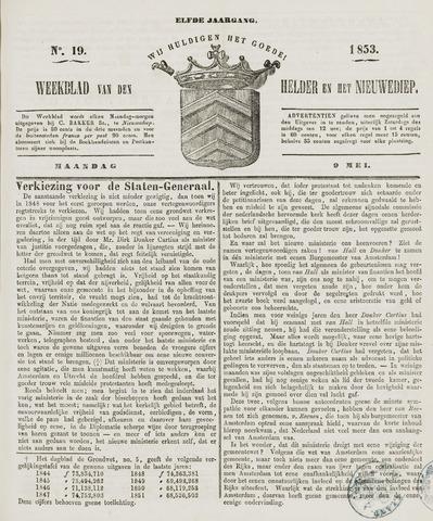 Weekblad van Den Helder en het Nieuwediep 1853-05-09