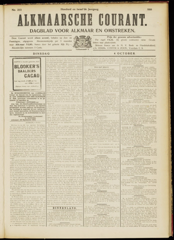 Alkmaarsche Courant 1910-10-04