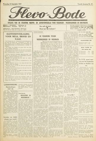 Flevo-bode: nieuwsblad voor Wieringen-Wieringermeer 1947-09-24