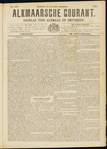 Alkmaarsche Courant 1905-09-29