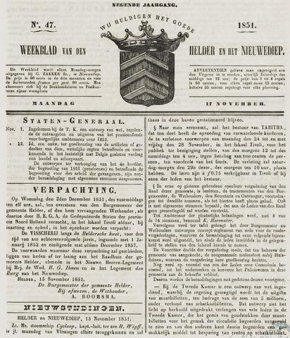 Weekblad van Den Helder en het Nieuwediep 1851-11-17