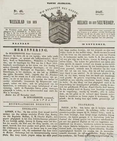 Weekblad van Den Helder en het Nieuwediep 1847-11-29