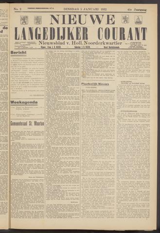 Nieuwe Langedijker Courant 1932-01-05