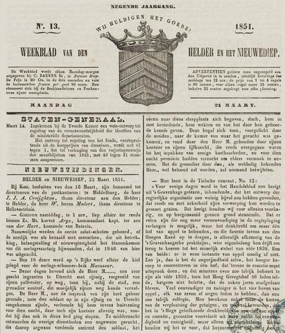 Weekblad van Den Helder en het Nieuwediep 1851-03-24