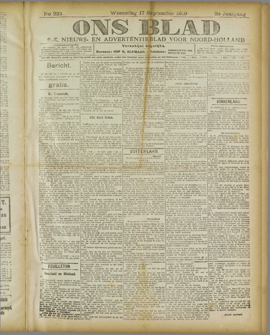 Ons Blad : katholiek nieuwsblad voor N-H 1919-09-17