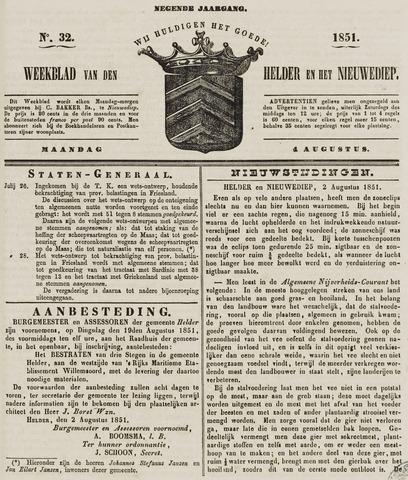 Weekblad van Den Helder en het Nieuwediep 1851-08-04