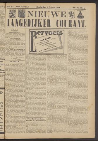 Nieuwe Langedijker Courant 1924-10-02