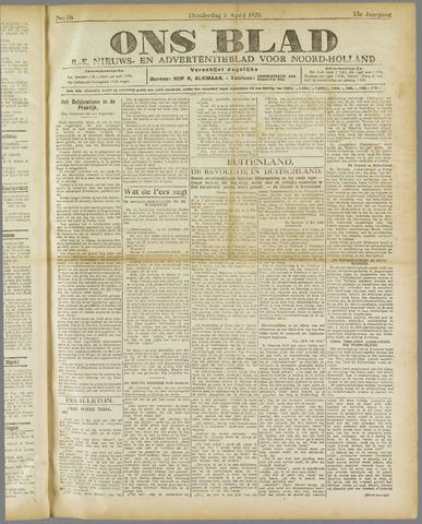 Ons Blad : katholiek nieuwsblad voor N-H 1920-04-01