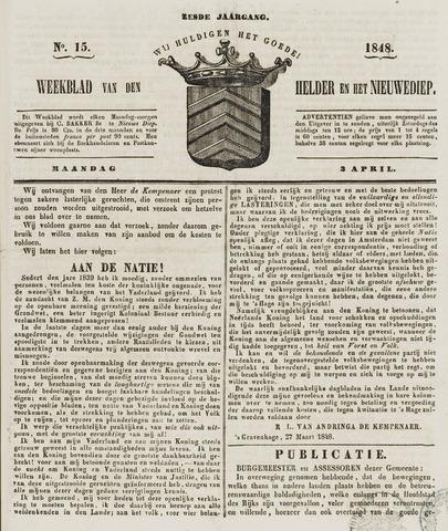 Weekblad van Den Helder en het Nieuwediep 1848-04-03