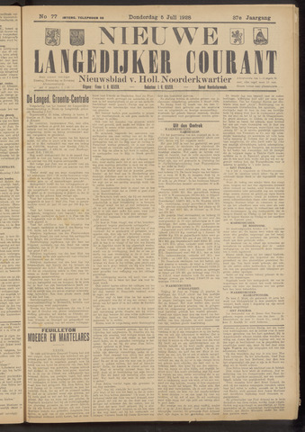 Nieuwe Langedijker Courant 1928-07-05