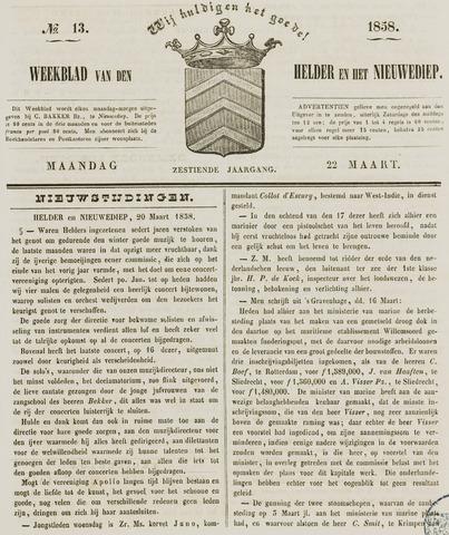Weekblad van Den Helder en het Nieuwediep 1858-03-22