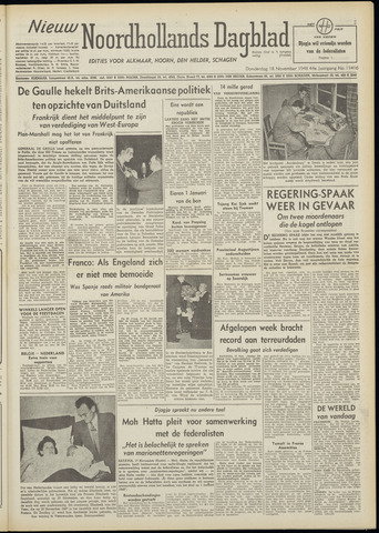 Nieuw Noordhollandsch Dagblad : voor Alkmaar en omgeving 1948-11-18