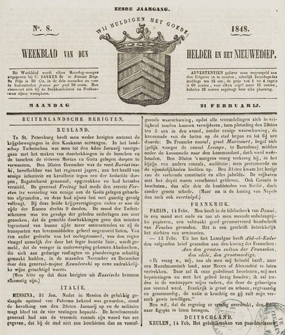 Weekblad van Den Helder en het Nieuwediep 1848-02-21