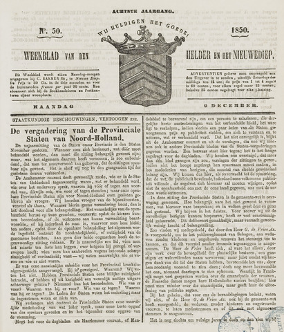 Weekblad van Den Helder en het Nieuwediep 1850-12-09