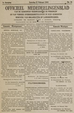 Mededeelingenblad Wieringermeer en Wieringen 1943-02-27
