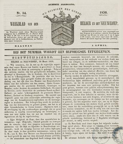 Weekblad van Den Helder en het Nieuwediep 1850-04-01