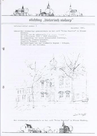 Informatieblad stichting Historisch Niedorp 1985-12-01