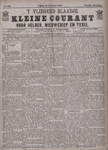 Vliegend blaadje : nieuws- en advertentiebode voor Den Helder 1881-02-11