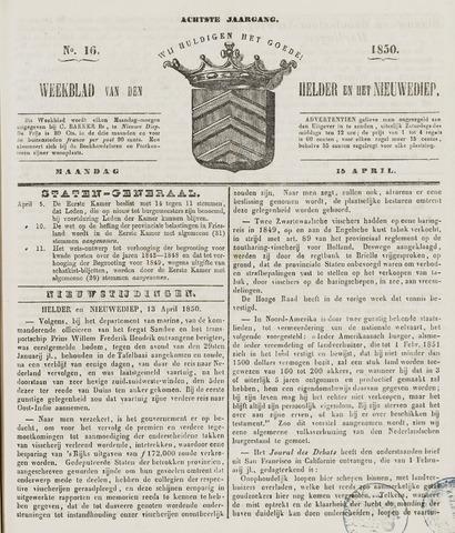 Weekblad van Den Helder en het Nieuwediep 1850-04-15