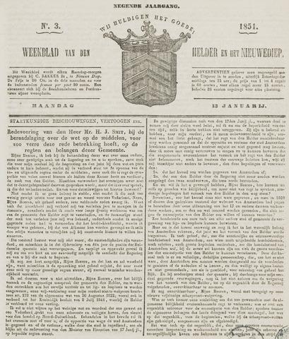 Weekblad van Den Helder en het Nieuwediep 1851-01-13
