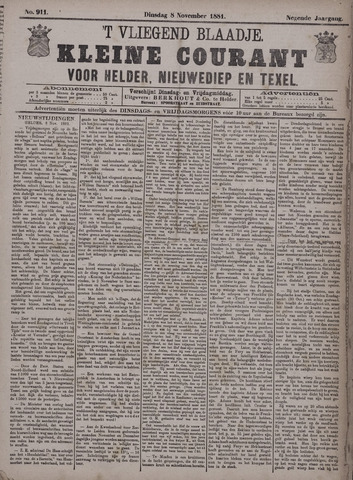 Vliegend blaadje : nieuws- en advertentiebode voor Den Helder 1881-11-08