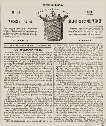 Weekblad van Den Helder en het Nieuwediep 1853-04-18