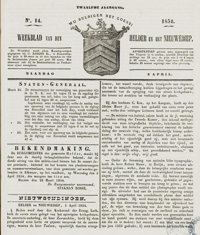 Weekblad van Den Helder en het Nieuwediep 1854-04-03