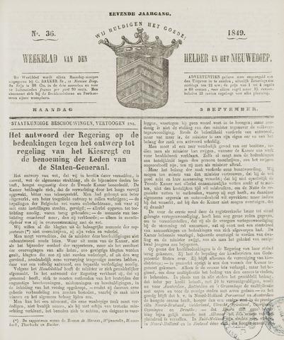 Weekblad van Den Helder en het Nieuwediep 1849-09-03
