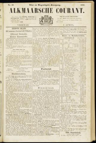Alkmaarsche Courant 1892-04-01