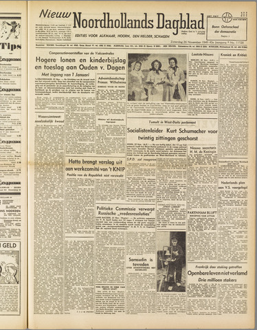 Nieuw Noordhollandsch Dagblad : voor Alkmaar en omgeving 1949-11-26