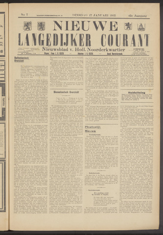 Nieuwe Langedijker Courant 1933-01-17