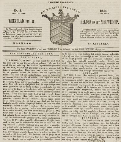 Weekblad van Den Helder en het Nieuwediep 1844-01-15