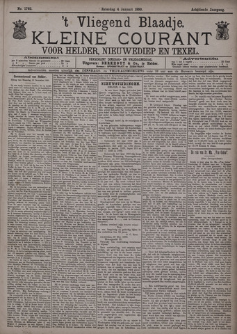 Vliegend blaadje : nieuws- en advertentiebode voor Den Helder 1890-01-04