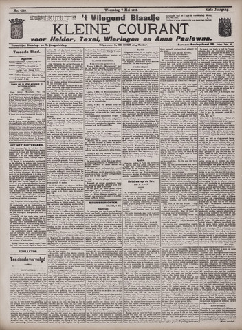 Vliegend blaadje : nieuws- en advertentiebode voor Den Helder 1913-05-07