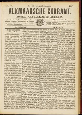 Alkmaarsche Courant 1907-04-20