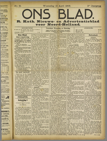 Ons Blad : katholiek nieuwsblad voor N-H 1908-04-15