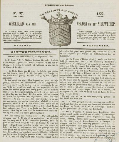 Weekblad van Den Helder en het Nieuwediep 1855-09-10