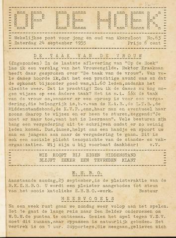 Op De Hoek, weekblad voor Akersloot 1955-09-24