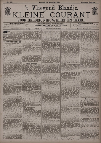Vliegend blaadje : nieuws- en advertentiebode voor Den Helder 1890-09-24