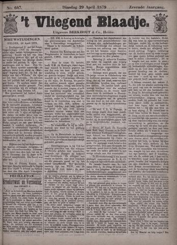 Vliegend blaadje : nieuws- en advertentiebode voor Den Helder 1879-04-29