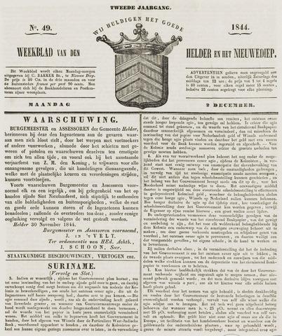 Weekblad van Den Helder en het Nieuwediep 1844-12-02
